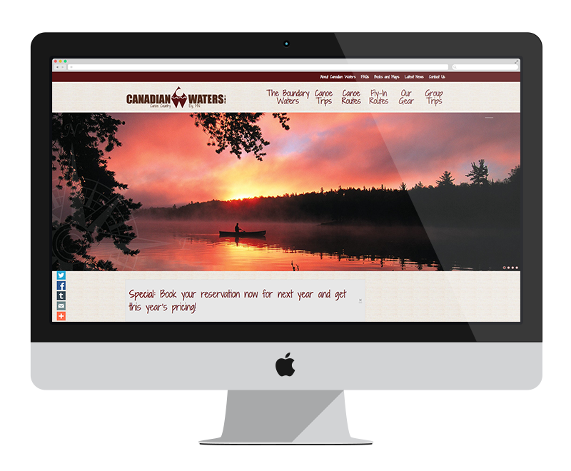 Canadian Waters Outfitters: Minnesota web design and development - tourism