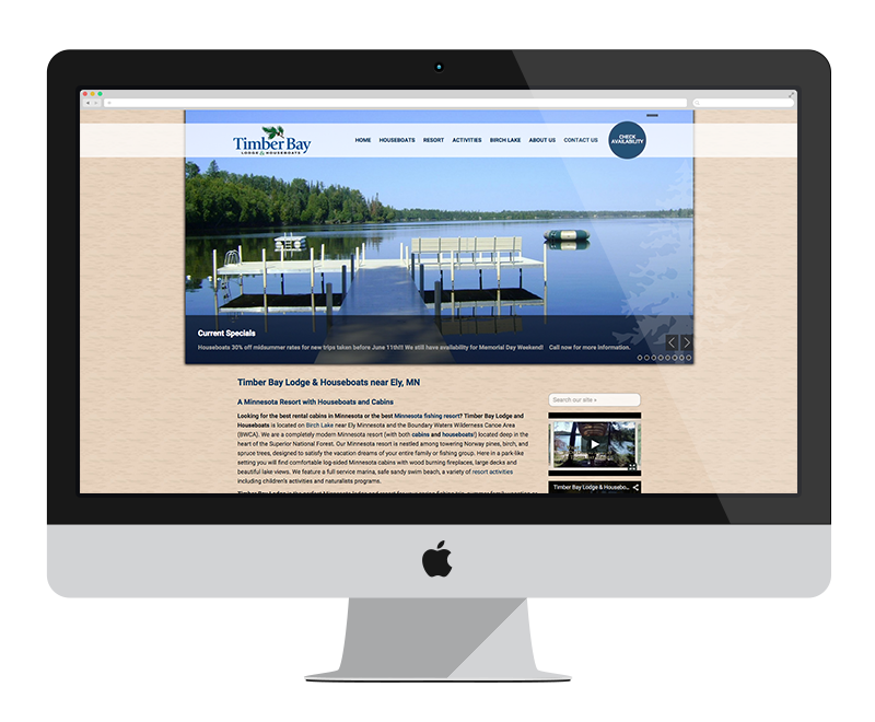 Timber Bay Resort and Houseboats: Minnesota web design and development - tourism