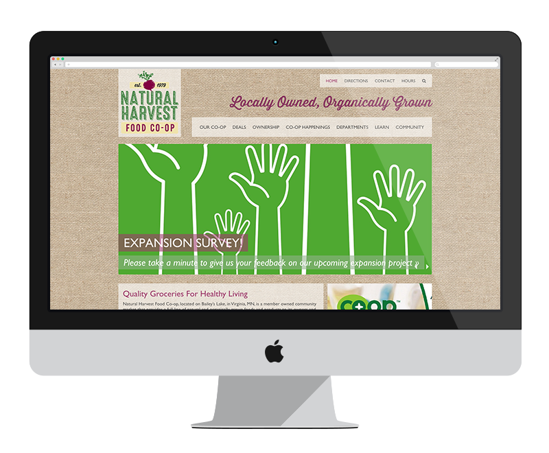 Natural Harvest Food Co-op: Minnesota web design and development - retail